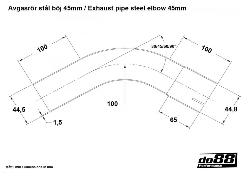 exhaust pipe steel 30 degree 1 75 u0026 39  u0026 39   45mm