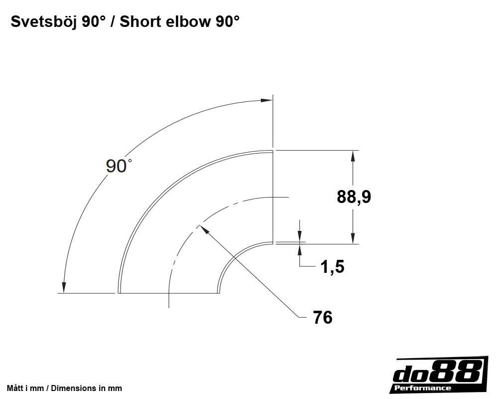 Exhaust Pipe Steel Short Elbow 90 Degree 35 89mm Diagram Volvo V70 Parts